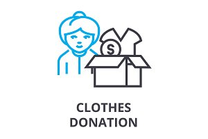 clothes donation thin line icon, sign, symbol, illustation, linear concept, vector