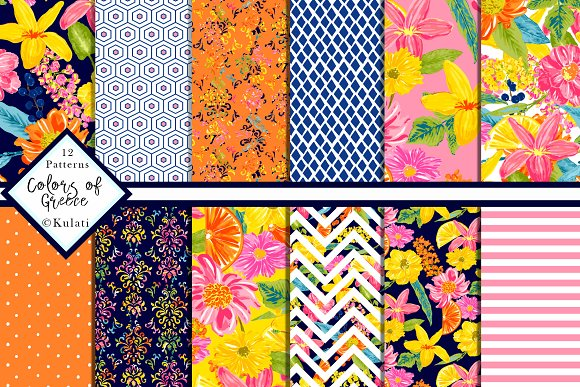 Summer Digital Paper Patterns