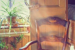 Sunbeams inside a vintage room