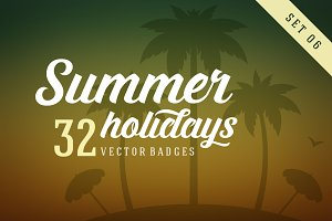 32 Summer holidays badges & labels