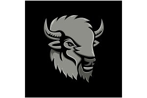 American Bison Head Metallic Icon