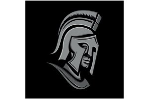 Spartan Warrior Head Metallic Icon