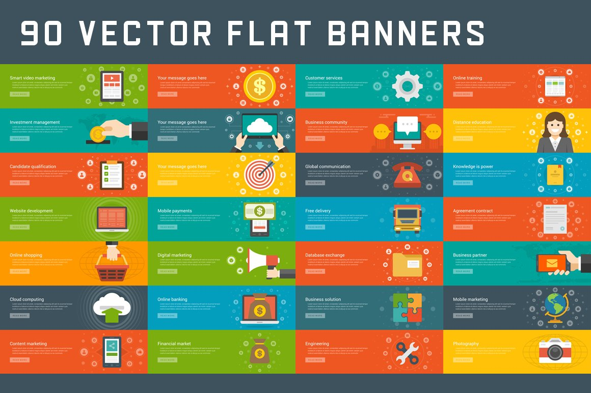 90 Flat Website Banners Templates Illustrations Creative Market