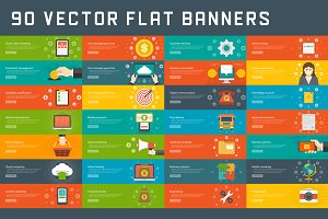 90 Flat website banners templates