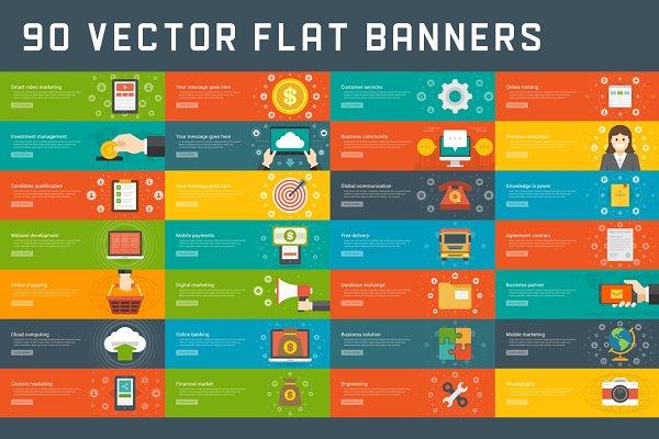 90 Flat website banners templates