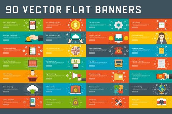 90 flat website banners templates illustrations creative market