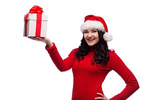 Christmas Santa hat isolated woman hold christmas gift.