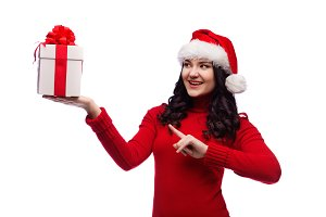 woman hold christmas gift isolated