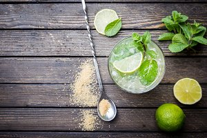 Mojito shot from birds eye view