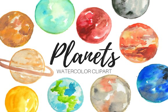 Watercolor Planet Clipart
