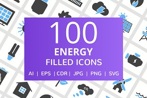 100 Energy Filled Icons