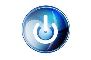 Power button blue icon, start symbol