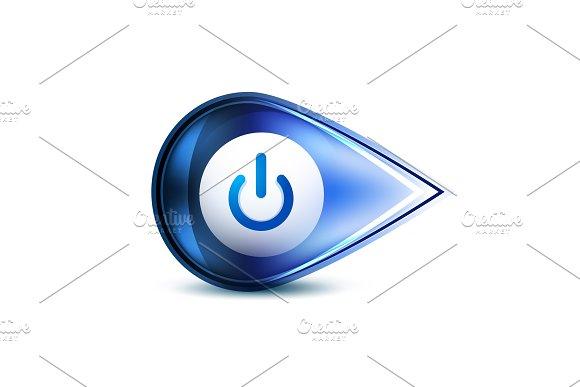 Power Button Blue Icon Start Symbol