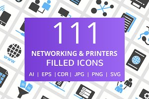 111 Networking & Printer Filled Icon