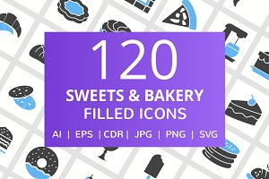 120 Sweets & Bakery Filled Icons