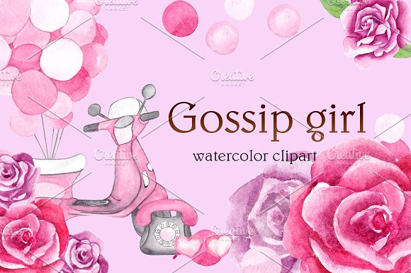 """Watercolor clipart """"Gossip girl"""""""