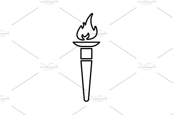 Olympic Torch Flame Line Icon Black