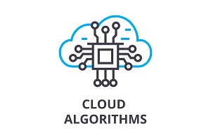 cloud algorithms thin line icon, sign, symbol, illustation, linear concept, vector