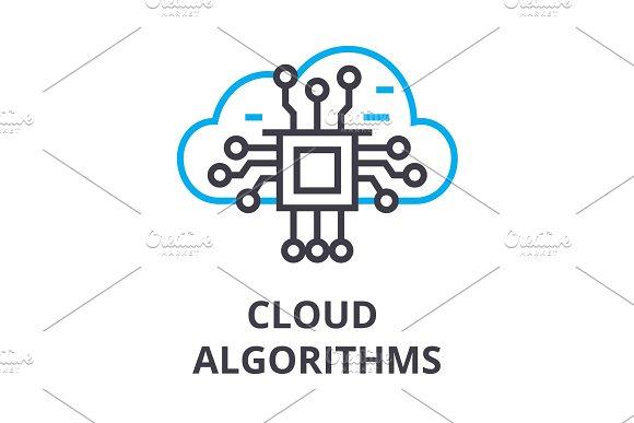 cloud algorithms thin line icon, sign, symbol, illustation, linear concept, vector