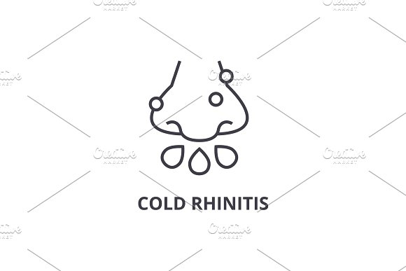 Cold Rhinitis Thin Line Icon Sign Symbol Illustation Linear Concept Vector
