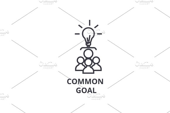 Common Goal Thin Line Icon Sign Symbol Illustation Linear Concept Vector