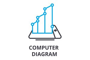 computer diagram thin line icon, sign, symbol, illustation, linear concept, vector
