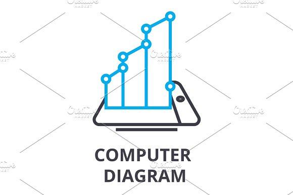 Computer Diagram Thin Line Icon Sign Symbol Illustation Linear Concept Vector