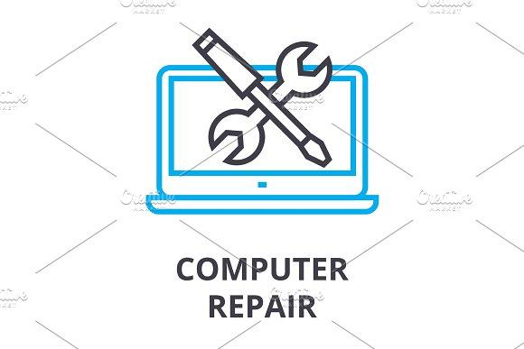 Computer Repair Thin Line Icon Sign Symbol Illustation Linear Concept Vector