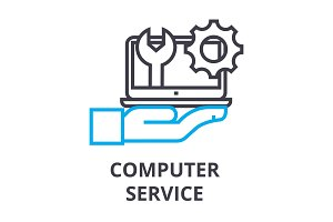 computer service thin line icon, sign, symbol, illustation, linear concept, vector