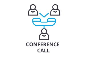 conference call thin line icon, sign, symbol, illustation, linear concept, vector