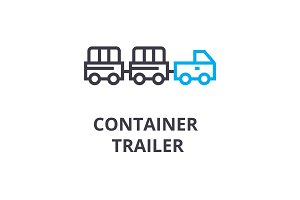 container trailer thin line icon, sign, symbol, illustation, linear concept, vector