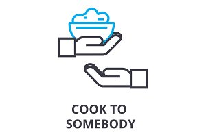 cook somebody thin line icon, sign, symbol, illustation, linear concept, vector