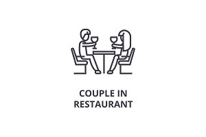 couple in restaurant thin line icon, sign, symbol, illustation, linear concept, vector