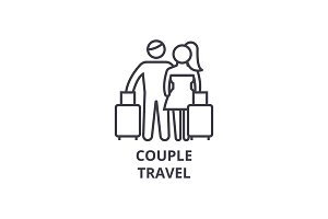 couple travel thin line icon, sign, symbol, illustation, linear concept, vector