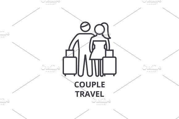 Couple Travel Thin Line Icon Sign Symbol Illustation Linear Concept Vector