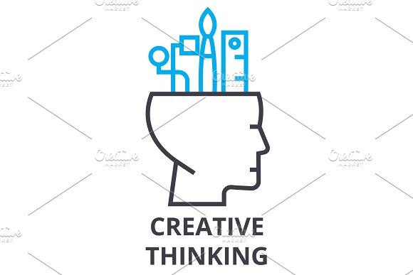 Creative Thinking Thin Line Icon Sign Symbol Illustation Linear Concept Vector