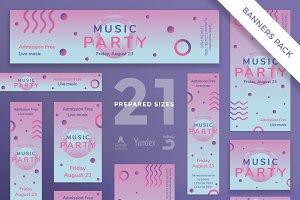 Banners Pack | Pink Music Party