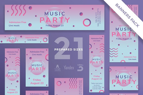 Banners Pack Pink Music Party