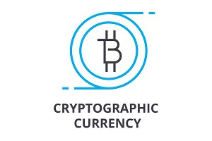 cryptographic currency thin line icon, sign, symbol, illustation, linear concept, vector