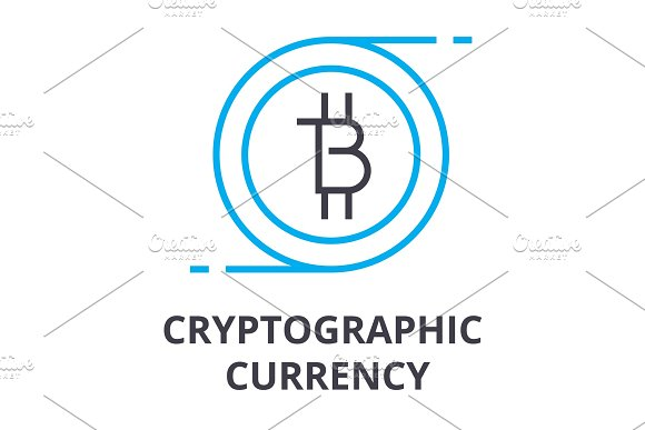 Cryptographic Currency Thin Line Icon Sign Symbol Illustation Linear Concept Vector