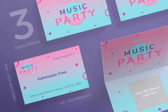 Business Cards Pink Music Party