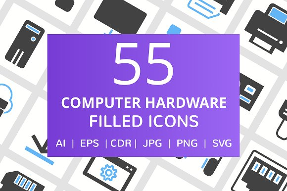 55 Computer Hardware Filled Icons