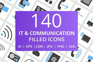140 IT & Communication Filled Icons