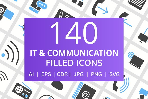 140 IT Communication Filled Icons