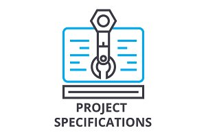 project specifications thin line icon, sign, symbol, illustation, linear concept, vector