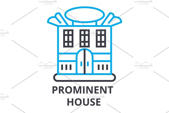 Prominent House Thin Line Icon Sign Symbol Illustation Linear Concept Vector