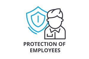 protection of employees thin line icon, sign, symbol, illustation, linear concept, vector