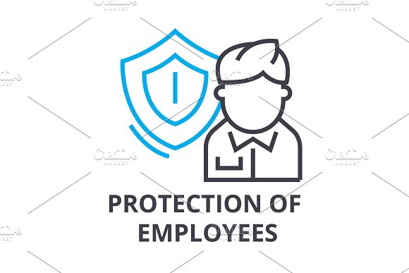 Protection Of Employees Thin Line Icon Sign Symbol Illustation Linear Concept Vector