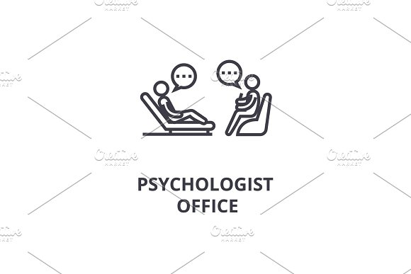 Psychologist Couch Thin Line Icon Sign Symbol Illustation Linear Concept Vector