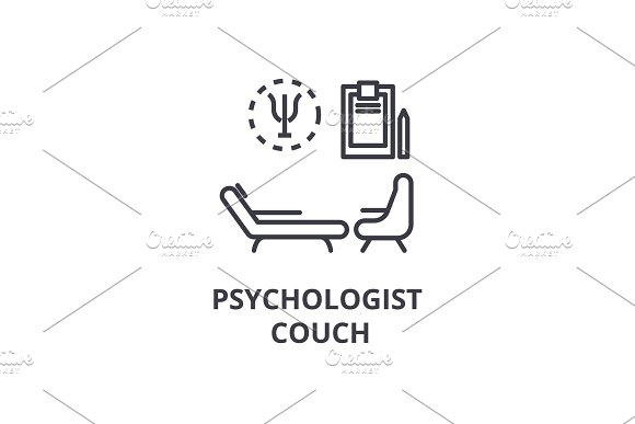 Psychologist Couch Concept Thin Line Icon Sign Symbol Illustation Linear Concept Vector